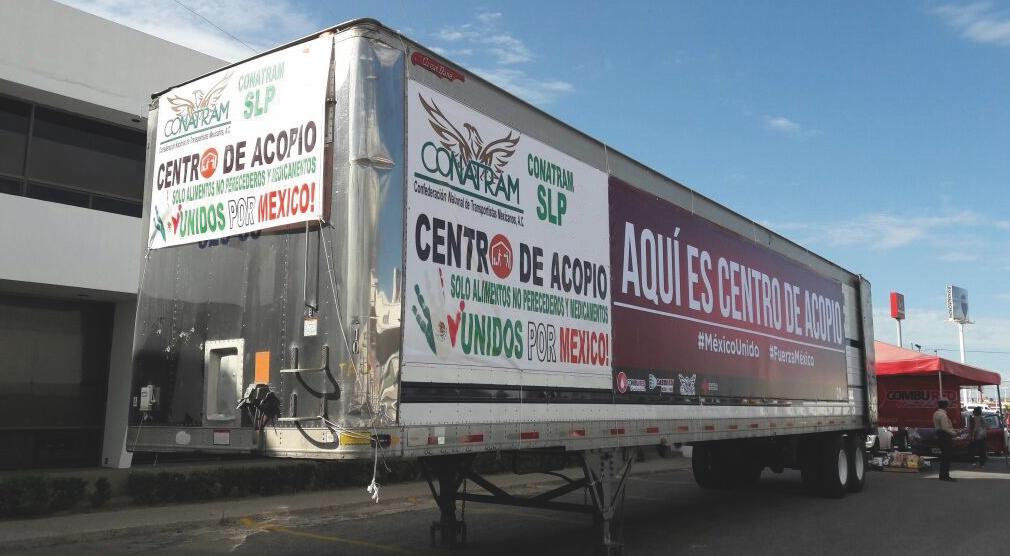 Transportistas Unidos, CONATRAM continúa ayudando a Morelos y Chiapas.